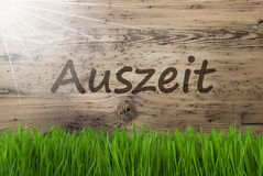 Sunny Wooden Background, Gras, Auszeit Means Downtime Stock Photography