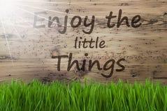 Sunny Wooden Background, Gras, citation apprécient les petites choses images libres de droits