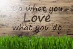 Sunny Wooden Background, Gras, citation font ce que vous aimez image libre de droits