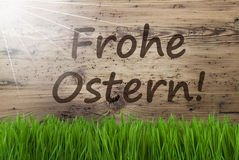 Sunny Wooden Background, Gras, Frohe Ostern Means Happy Easter Royalty Free Stock Images