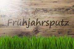 Sunny Wooden Background, Gras, Fruehjahrsputz veut dire le grand nettoyage images stock