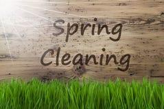 Sunny Wooden Background, Gras, pulizie di primavera del testo immagine stock