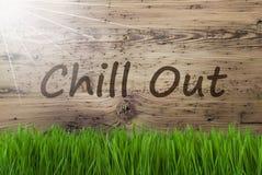 Sunny Wooden Background, Gras, texto refrigera para fora fotografia de stock