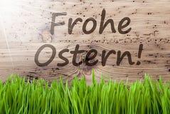 Sunny Wooden Background intelligent, Gras, Frohe Ostern veut dire Joyeuses Pâques photo stock