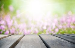 Sunny Wooden Board With Erica Flower Field As Background Royalty Free Stock Images