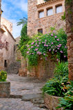 Sunny yard, Peratallada, Spain Royalty Free Stock Photography