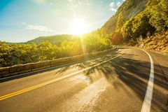 Sunny Yosemite Road Stock Images