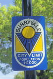 �Sunnyvale City Limit� sign, Sunnyvale, Silicon Valley, California Royalty Free Stock Photography