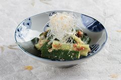 Sunomono Japanese cucumber salad including cut cucumber mixing with rice vinegar, sugar , salt and white sesame. Royalty Free Stock Photography