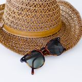 Sunprotection objects sunglasses and hat stock image