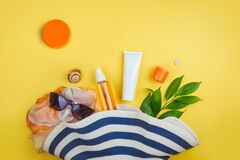 Free Sunprotection, Sanscreen. Beach Set: Hat, Sun Glasses And Protection Cream SPF Beach Accessories. Summer Travel Concept Stock Image - 174218241