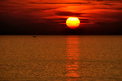 Sunraise in early morning. On sea with beautiful color, as background or design pattern Stock Image