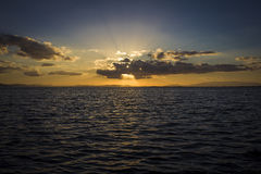 Sunray захода солнца стоковое изображение