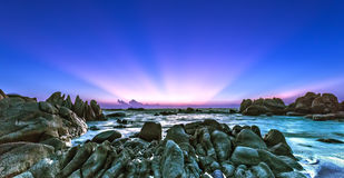 Sunray KeGa rocks welcomes new day Stock Photo