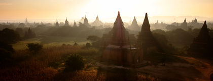 Sunray Over Bagan Temples Royalty Free Stock Images