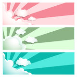 Sunray Sunburst Cloud Set Pink, Blue, Green Royalty Free Stock Images