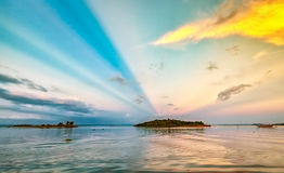 Sunray Tri An lake sunset Royalty Free Stock Photography