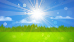 Sunrays on blurred landscape Royalty Free Stock Photo