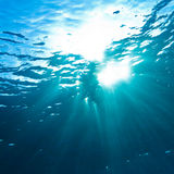 Sunrays breaking through the water surface Royalty Free Stock Photos