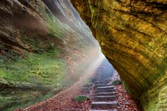 Sunrays at Cantwell Cliffs in Ohio Royalty Free Stock Images
