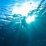 Sunrays che attraversano la superficie dell'acqua Fotografie Stock Libere da Diritti