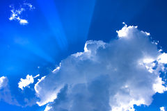 Sunrays in the clouds Stock Photography