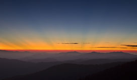 Sunrays in Great Smoky Mountains NP Royalty Free Stock Photos