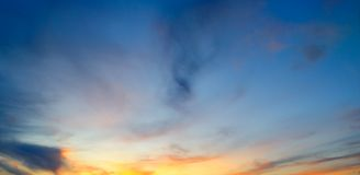 Sunrays illuminate the sky above the horizon. Wide photo. Sun`s rays illuminate the sky above the horizon. Wide photo royalty free stock photography