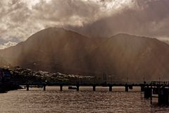 Sunrays in Misty Morning on Dominica Stock Photography