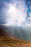 Sunrays in mountains Royalty Free Stock Photos