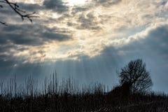 Sunrays shining through cloud cover Stock Photos