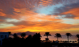 Sunrice and beach with a view on Tiran island. At the luxury hotel, Sharm el Sheikh, Egypt Stock Images