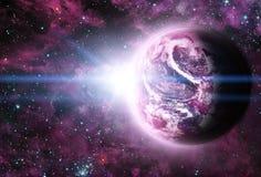 Sunriece hermoso en el planeta rojo en espacio Foto de archivo libre de regalías
