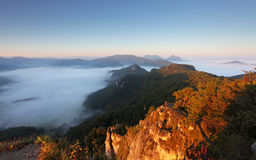 Sunrine autumn landscape in Slovakia rock, Sulov Royalty Free Stock Photos