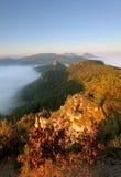 Sunrine autumn landscape in Slovakia rock, Sulov Stock Image