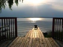 Sunrise. On lake Stock Images