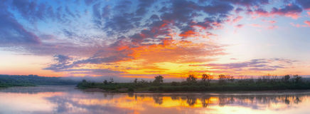 Sunrise. On a river. Panoramic image stock images