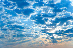 Sunrise. Morning sky and big fluffy clouds stock photo