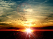 Sunrise. Beautiful sunrise and its rays Stock Photo