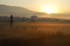 Sunrise. Misty morning at sunrise in town Knin, Croatia Royalty Free Stock Photo