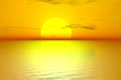 Sunrise. Golden sunrise with sun over sea Royalty Free Stock Photography
