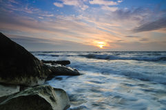 Sunrise. At the beach whit skyes Royalty Free Stock Photography
