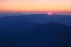 Sunrise. In mountains, Carpathians, Ukraine Stock Photos