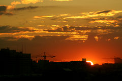 Sunrise. In Moscow, view from 3d transport ring Stock Photography