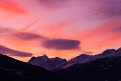 Sunrise. A sunrise over the Alps Stock Photo