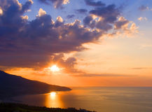 Sunrise. Above the sea. Crimea Stock Photos