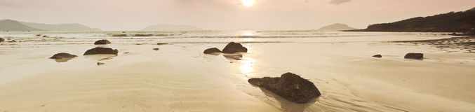 Sunrise. Over the sea in sepia. Panorama Stock Photo