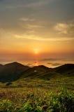 Sunrise. From the Sunset Peak, Hong Kong stock photography