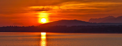 Sunrise. View at Port Gitana,, Switzerland Royalty Free Stock Image