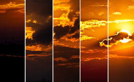 Sunrise. Hiding behind some clouds collage Royalty Free Stock Photos